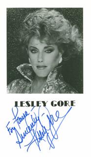 LESLEY GORE - INSCRIBED PRINTED PHOTOGRAPH SIGNED IN INK