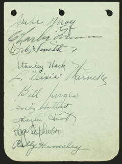 GABBY HARTNETT - AUTOGRAPH CIRCA 1930 CO-SIGNED BY: CHARLES CHINSKI ROOT, LON WARNEKE, STAN HACK, JAKIE MAY, ROLLIE HEMSLEY, CHARLIE GRIMM, BOB RIVERBOAT SMITH, BILL JURGES, RIGGS STEPHENSON