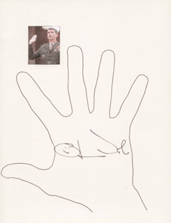 Autographs: LT. COLONEL OLIVER L. NORTH - HAND/FOOT PRINT OR SKETCH SIGNED