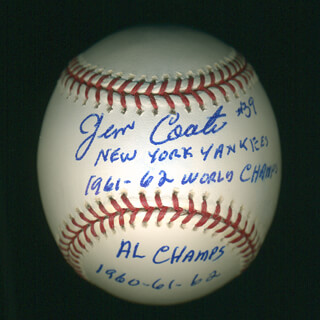 JIM COATES - ANNOTATED BASEBALL SIGNED