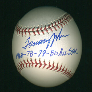 TOMMY JOHN - ANNOTATED BASEBALL SIGNED