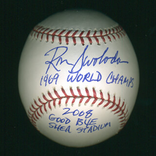 RON ROCKY SWOBODA - BASEBALL SIGNED WITH AQS 2008