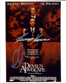 Autographs: DEVIL'S ADVOCATE MOVIE CAST - PHOTOGRAPH SIGNED CO-SIGNED BY: AL PACINO, KEANU REEVES