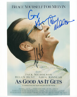 Autographs: AS GOOD AS IT GETS MOVIE CAST - PHOTOGRAPH SIGNED CO-SIGNED BY: HELEN HUNT, JACK NICHOLSON, GREG KINNEAR