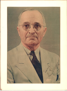 PRESIDENT HARRY S TRUMAN - MAGAZINE PHOTOGRAPH SIGNED