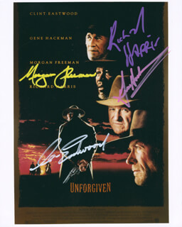 Autographs: UNFORGIVEN MOVIE CAST - PHOTOGRAPH SIGNED CO-SIGNED BY: RICHARD HARRIS, CLINT EASTWOOD, GENE HACKMAN, MORGAN FREEMAN
