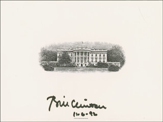 PRESIDENT WILLIAM J. BILL CLINTON - WHITE HOUSE ENGRAVING SIGNED