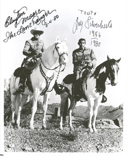 Autographs: LONE RANGER TV CAST - PHOTOGRAPH SIGNED 08/04/1980 CO-SIGNED BY: CLAYTON THE LONE RANGER MOORE, JAY TONTO SILVERHEELS