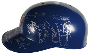Autographs: THE 1969 NEW YORK METS - HELMET SIGNED CO-SIGNED BY: RON ROCKY SWOBODA, AL WEIS, AMOS A.O. OTIS, DONN CLENDENON, JIM MAC McANDREW, ED CHARLES, JERRY KOOSE KOOSMAN, JOE PIGNATANO, DUFFY DYER, J. C. MARTIN, ED KRANEPOOL, WAYNE GARRETT, BUD HARRELSON, JERRY GROTE, NOLAN RYAN, TOM TOM TERRIFIC SEAVER