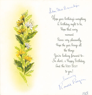 PRESIDENT RONALD REAGAN - PRINTED CARD SIGNED IN INK CIRCA 1958