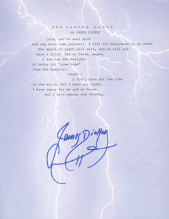 Autographs: JAMES DICKEY - POEM SIGNED