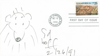 SYD HOFF - ORIGINAL ART ON FIRST DAY COVER SIGNED 02/26/1991