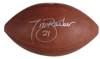 Autographs: TIKI BARBER - FOOTBALL SIGNED