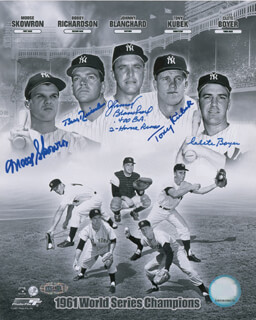 THE 1961 NEW YORK YANKEES - AUTOGRAPHED SIGNED PHOTOGRAPH CO-SIGNED BY: BILL MOOSE SKOWRON, CLETE BOYER, JOHNNY BLANCHARD, BOBBY RICHARDSON, TONY KUBEK