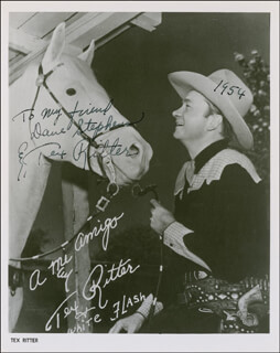 TEX RITTER - INSCRIBED PRINTED PHOTOGRAPH SIGNED IN INK 1954