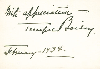 TEMPLE BAILEY - AUTOGRAPH SENTIMENT SIGNED 02/1934