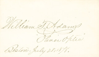 WILLIAM T. OLIVER OPTIC ADAMS - AUTOGRAPH 07/28/1878