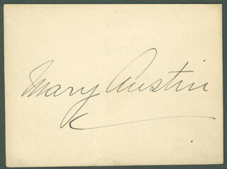 Autographs: MARY AUSTIN - SIGNATURE(S)