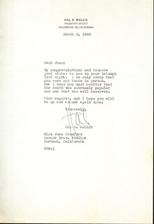HAL B. WALLIS - TYPED LETTER SIGNED 03/08/1946
