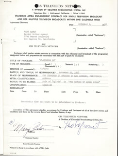 Autographs: MARY ASTOR - CONTRACT SIGNED 11/04/1958 CO-SIGNED BY: LEO LEFCOURT