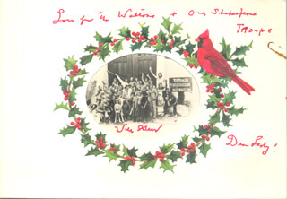 WILL A. GEER - INSCRIBED CHRISTMAS / HOLIDAY CARD SIGNED