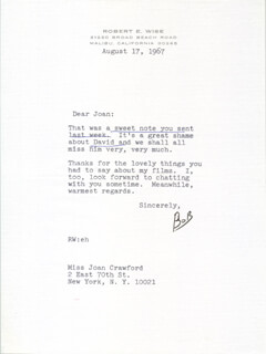 ROBERT WISE - TYPED LETTER SIGNED 08/17/1967
