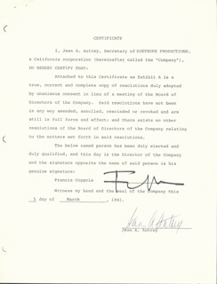 Autographs: FRANCIS FORD COPPOLA - DOCUMENT SIGNED 03/05/1981 CO-SIGNED BY: JEAN A. AUTREY