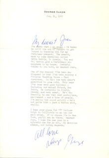 GEORGE D. CUKOR - TYPED LETTER SIGNED 01/24/1977