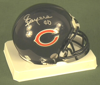 GALE SAYERS - MINIATURE HELMET SIGNED