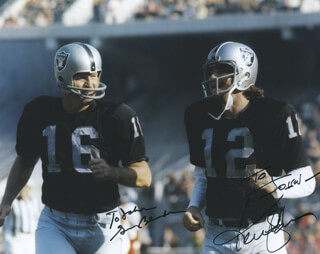 OAKLAND RAIDERS - AUTOGRAPHED INSCRIBED PHOTOGRAPH CO-SIGNED BY: GEORGE BLANDA, KEN SNAKE STABLER