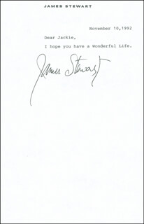 JAMES JIMMY STEWART - TYPED LETTER SIGNED 11/10/1992