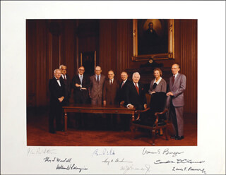 THE WARREN E. BURGER COURT - PHOTOGRAPH MOUNT SIGNED CO-SIGNED BY: ASSOCIATE JUSTICE BYRON R. WHITE, CHIEF JUSTICE WARREN E. BURGER, ASSOCIATE JUSTICE LEWIS F. POWELL JR., ASSOCIATE JUSTICE SANDRA DAY O'CONNOR, ASSOCIATE JUSTICE WILLIAM J. BRENNAN JR., ASSOCIATE JUSTICE THURGOOD MARSHALL, CHIEF JUSTICE WILLIAM H. REHNQUIST, ASSOCIATE JUSTICE HARRY A. BLACKMUN, ASSOCIATE JUSTICE JOHN PAUL STEVENS