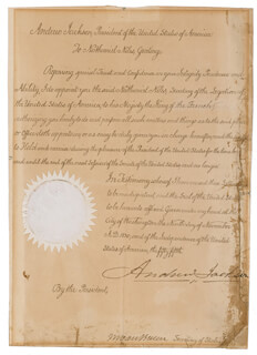 Autographs: PRESIDENT ANDREW JACKSON - CIVIL APPOINTMENT SIGNED 11/09/1830 CO-SIGNED BY: PRESIDENT MARTIN VAN BUREN