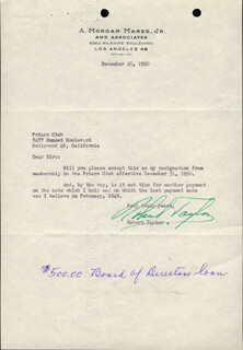 ROBERT TAYLOR - TYPED LETTER SIGNED 12/20/1950