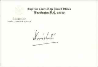 ASSOCIATE JUSTICE DAVID H. SOUTER - SUPREME COURT CARD SIGNED
