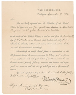 Autographs: EDWIN M. STANTON - MILITARY APPOINTMENT SIGNED 11/08/1862