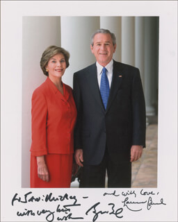 PRESIDENT GEORGE W. BUSH - AUTOGRAPHED INSCRIBED PHOTOGRAPH CO-SIGNED BY: FIRST LADY LAURA BUSH