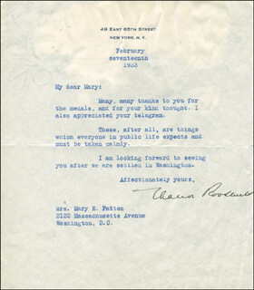 FIRST LADY ELEANOR ROOSEVELT - TYPED LETTER SIGNED 02/17/1933