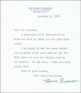 FIRST LADY ELEANOR ROOSEVELT - TYPED LETTER SIGNED 12/03/1958