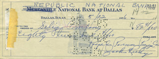 Autographs: JACK RUBY - CHECK SIGNED 06/07/1956