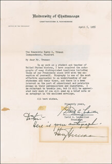 PRESIDENT HARRY S TRUMAN - AUTOGRAPH NOTE SIGNED CO-SIGNED BY: DAVID A. LOCKMILLER