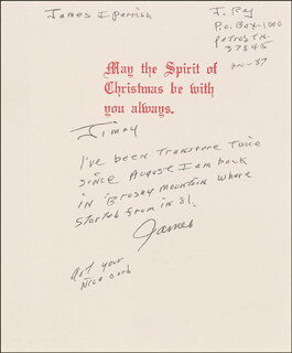 JAMES EARL RAY - INSCRIBED CHRISTMAS / HOLIDAY CARD SIGNED 12/1987  - HFSID 287119