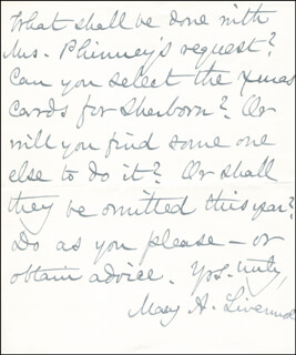 MARY A. LIVERMORE - AUTOGRAPH NOTE SIGNED