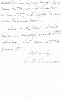 MARY A. LIVERMORE - AUTOGRAPH LETTER SIGNED 01/23/1887