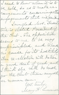 MARY A. LIVERMORE - AUTOGRAPH LETTER SIGNED 05/12/1887