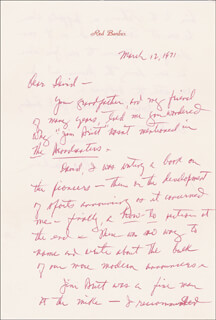 RED (WALTER LANIER) BARBER - AUTOGRAPH LETTER SIGNED 03/12/1971