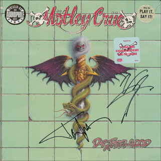 MOTLEY CRUE - RECORD ALBUM COVER SIGNED CO-SIGNED BY: MOTLEY CRUE (VINCE NEIL), MOTLEY CRUE (TOMMY LEE)