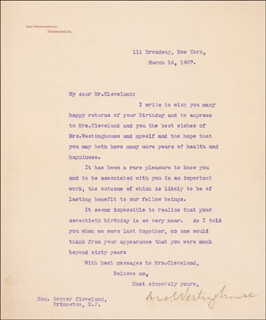 GEORGE WESTINGHOUSE JR. - TYPED LETTER SIGNED 03/16/1907
