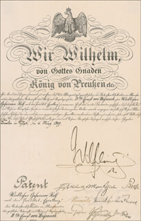 KAISER WILHELM II (GERMANY) - CIVIL APPOINTMENT SIGNED 03/06/1899 CO-SIGNED BY: CHANCELLOR BERNHARD VON BULOW, CHLODWIG CARL VIKTOR PRINCE HOHENLOHE