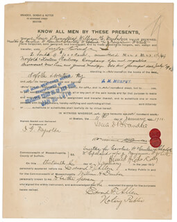 ASSOCIATE JUSTICE LOUIS D. BRANDEIS - DOCUMENT SIGNED 01/11/1910 CO-SIGNED BY: WILLIAM H. DUNBAR